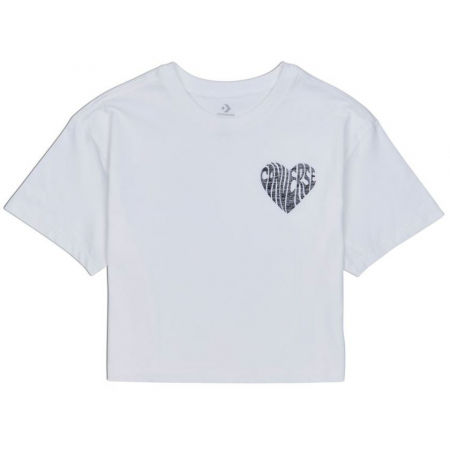 Converse WOMENS  LEFT CHEST HEART CROPPED TEE