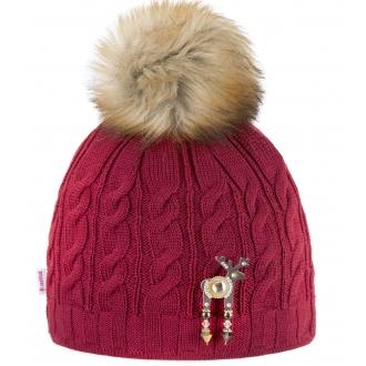 Női téli sapka Deers szarvas brossal